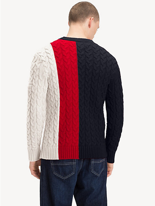 TOMMY JEANS Colour-Block Cable-Knit Jumper - BLACK IRIS/MULTI - TOMMY JEANS Sweatshirts & Knitwear - detail image 1
