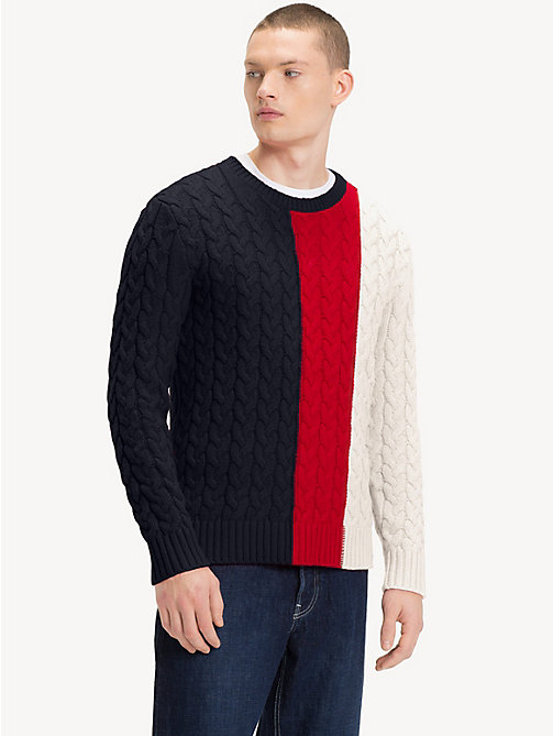 TOMMY JEANS Colour-Block Cable-Knit Jumper - BLACK IRIS / MULTI -  Knitwear - main image