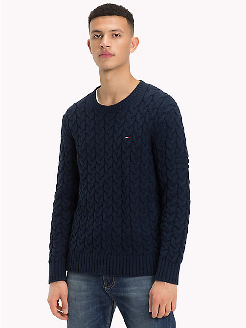 TOMMY JEANS Wool-Blend Cable-Knit Jumper - BLACK IRIS - TOMMY JEANS Sweatshirts & Knitwear - main image