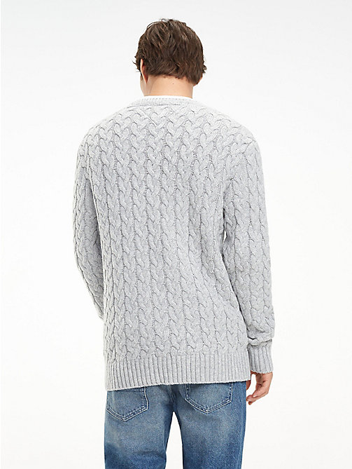 TOMMY JEANS Wool-Blend Cable-Knit Jumper - LT GREY HTR - TOMMY JEANS Knitwear - detail image 1