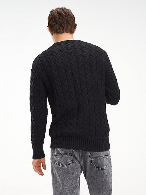 TOMMY JEANS Wool-Blend Cable-Knit Jumper - TOMMY BLACK - TOMMY JEANS Sweatshirts & Knitwear - detail image 1