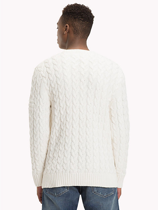TOMMY JEANS Wool-Blend Cable-Knit Jumper - MARSHMALLOW - TOMMY JEANS Knitwear - detail image 1