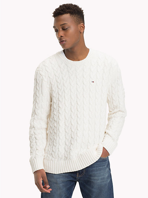 TOMMY JEANS Wool-Blend Cable-Knit Jumper - MARSHMALLOW - TOMMY JEANS Knitwear - main image