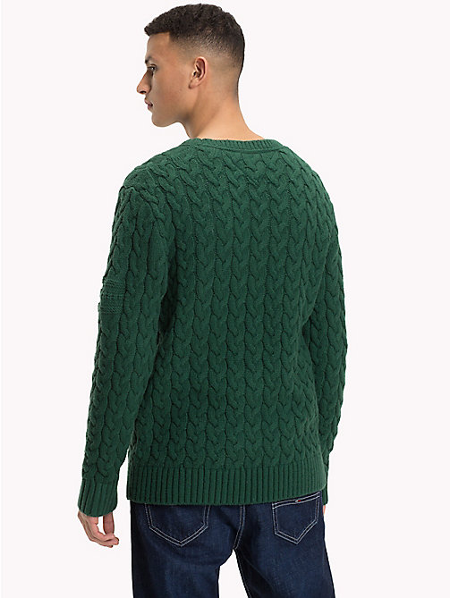 TOMMY JEANS Wool-Blend Cable-Knit Jumper - HUNTER GREEN - TOMMY JEANS Sweatshirts & Knitwear - detail image 1