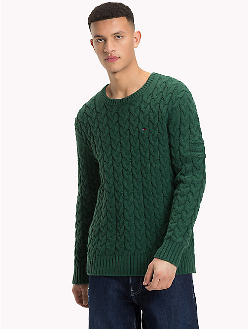 TOMMY JEANS Wool-Blend Cable-Knit Jumper - HUNTER GREEN - TOMMY JEANS Sweatshirts & Knitwear - main image