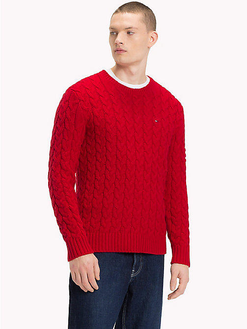 TOMMY JEANS Wool-Blend Cable-Knit Jumper - SAMBA - TOMMY JEANS Knitwear - main image