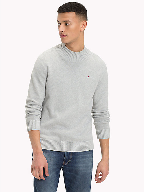 TOMMY JEANS Mock Neck Jumper - LT GREY HTR - TOMMY JEANS Knitwear - main image