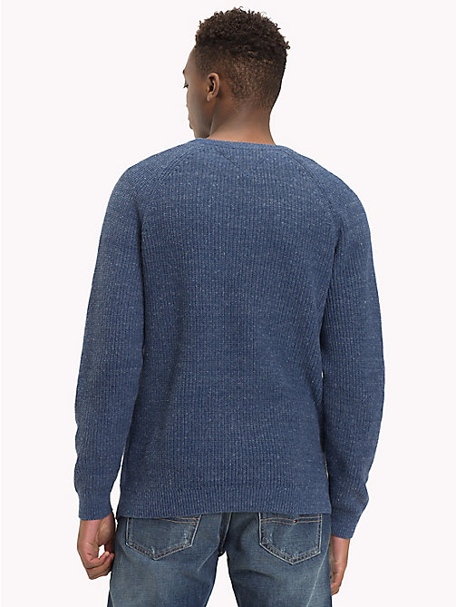 TOMMY JEANS Textured Crew Neck Jumper - BLACK IRIS - TOMMY JEANS Knitwear - detail image 1