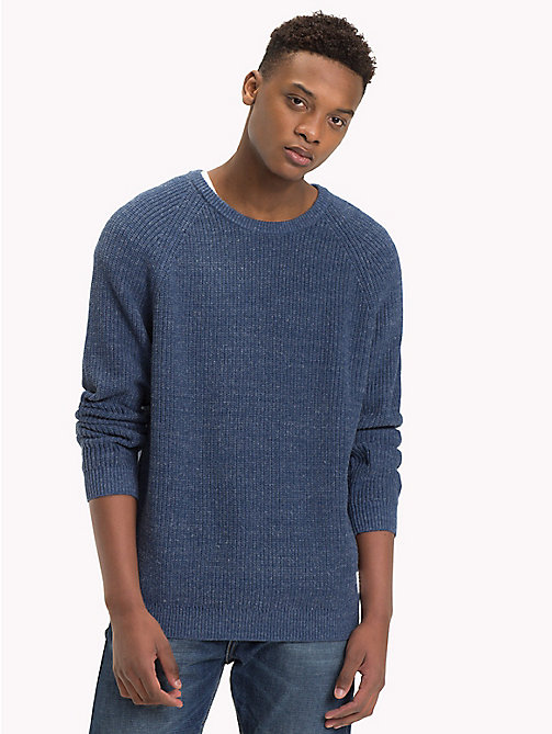 TOMMY JEANS Textured Crew Neck Jumper - BLACK IRIS - TOMMY JEANS Knitwear - main image