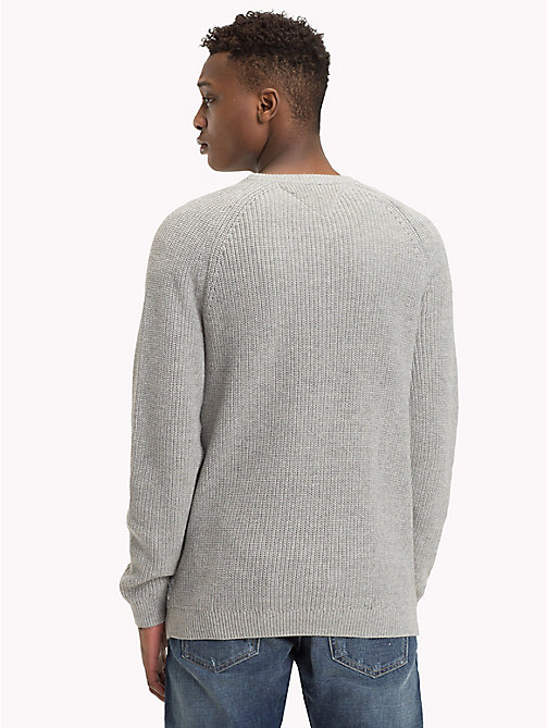 TOMMY JEANS Textured Crew Neck Jumper - LT GREY HTR - TOMMY JEANS Knitwear - detail image 1