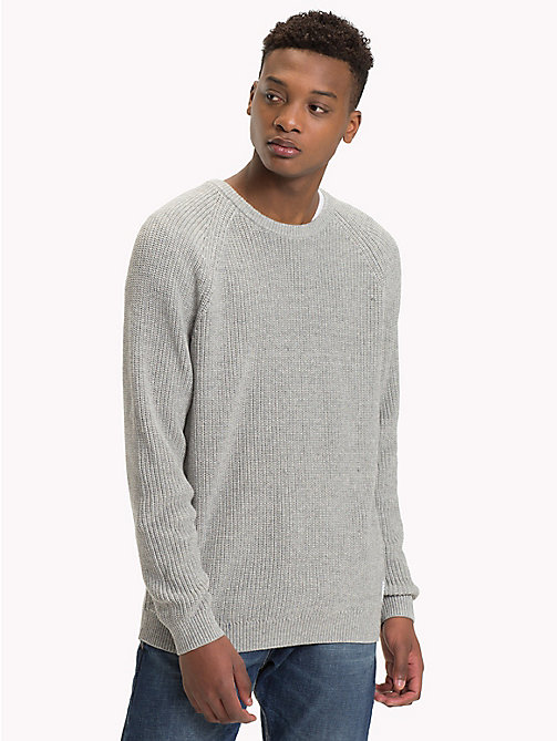 TOMMY JEANS Textured Crew Neck Jumper - LT GREY HTR - TOMMY JEANS Knitwear - main image