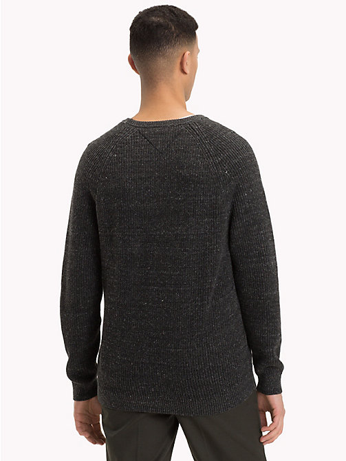 TOMMY JEANS Textured Crew Neck Jumper - DARK GREY HTR - TOMMY JEANS Knitwear - detail image 1