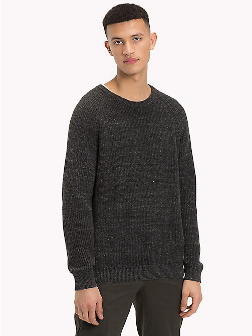 TOMMY JEANS Textured Crew Neck Jumper - DARK GREY HTR - TOMMY JEANS Knitwear - main image
