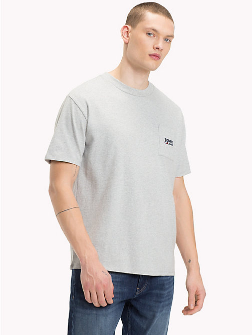 TOMMY JEANS Logo Pocket Cotton T-Shirt - LT GREY HTR - TOMMY JEANS T-Shirts & Polos - main image