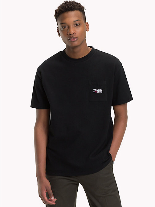 TOMMY JEANS Logo Pocket Cotton T-Shirt - TOMMY BLACK - TOMMY JEANS T-Shirts & Polos - main image