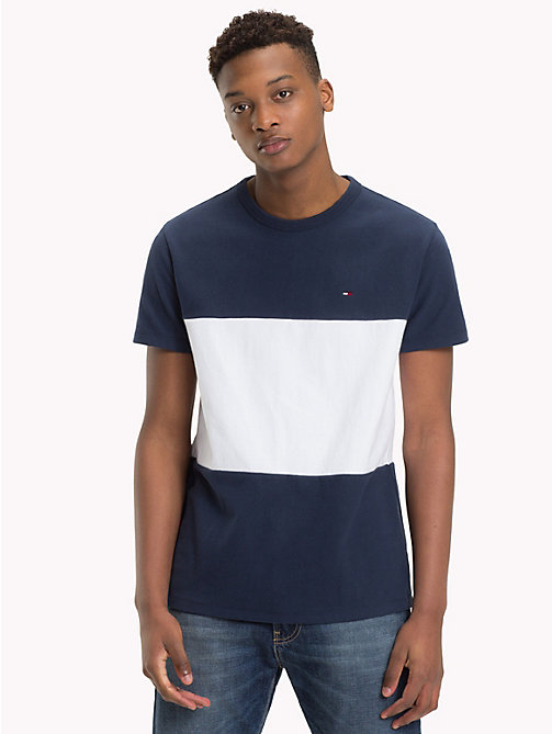 TOMMY JEANS Colour-Blocked Cotton T-Shirt - BLACK IRIS / CLASSIC WHITE - TOMMY JEANS T-Shirts & Polos - main image