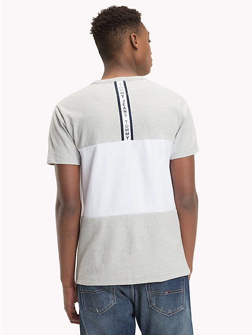 TOMMY JEANS Colour-Blocked Cotton T-Shirt - LT GREY HTR / CLASSIC WHITE - TOMMY JEANS T-Shirts & Polos - detail image 1