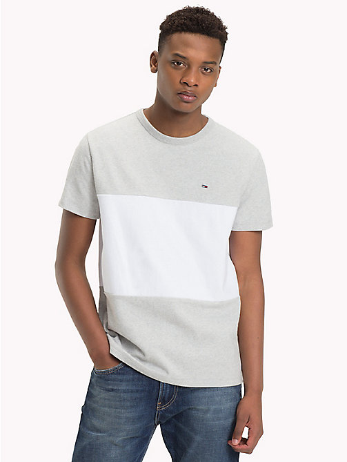 TOMMY JEANS Colour-Blocked Cotton T-Shirt - LT GREY HTR / CLASSIC WHITE - TOMMY JEANS T-Shirts & Polos - main image