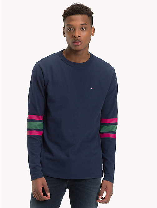 TOMMY JEANS Multi-Colour Stripe Sleeve Top - BLACK IRIS / MULTI - TOMMY JEANS T-Shirts & Polos - main image