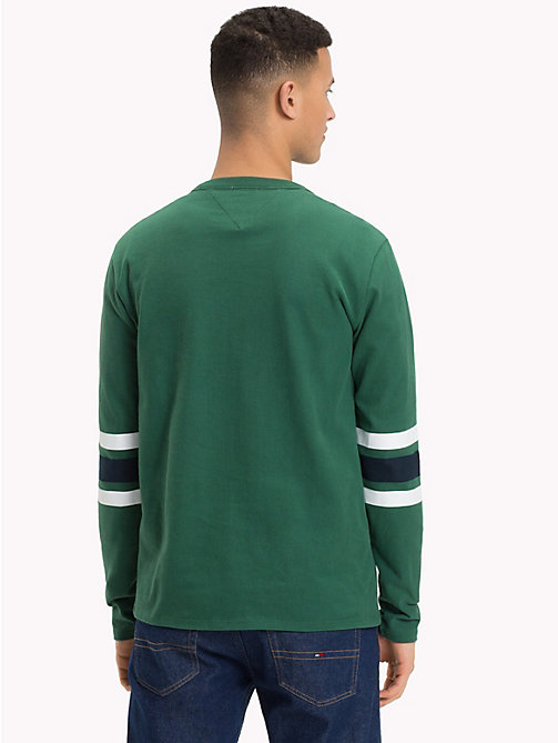 TOMMY JEANS Multi-Colour Stripe Sleeve Top - HUNTER GREEN / MULTI - TOMMY JEANS T-Shirts & Polos - detail image 1
