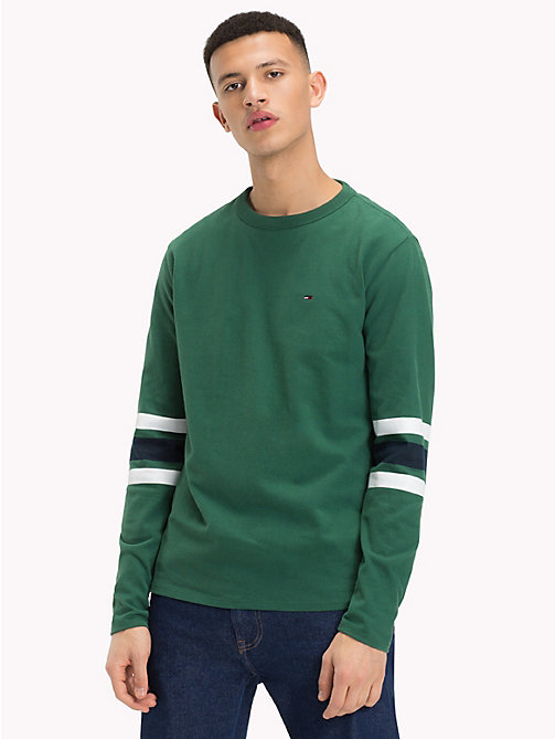 TOMMY JEANS Multi-Colour Stripe Sleeve Top - HUNTER GREEN / MULTI - TOMMY JEANS T-Shirts & Polos - main image