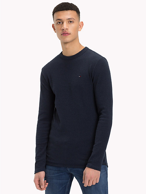 TOMMY JEANS Slim Fit Langarmshirt - BLACK IRIS HTR - TOMMY JEANS T-Shirts & Poloshirts - main image