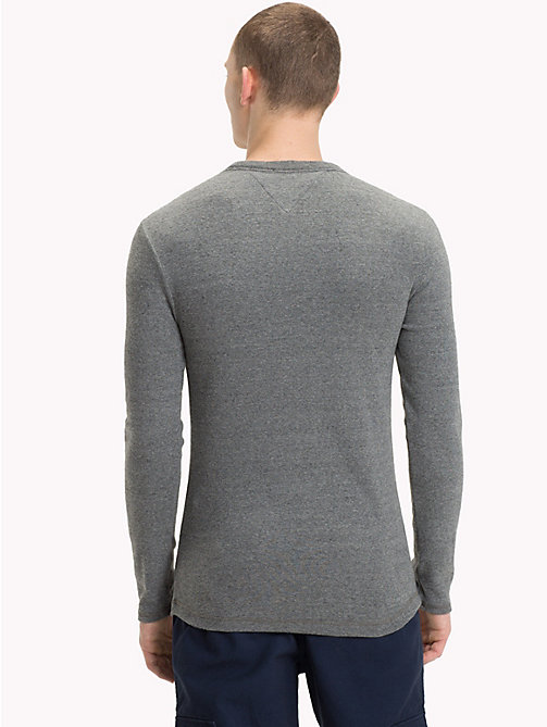 TOMMY JEANS Long Sleeve Slim Fit Top - DARK GREY HTR - TOMMY JEANS T-Shirts & Polos - detail image 1