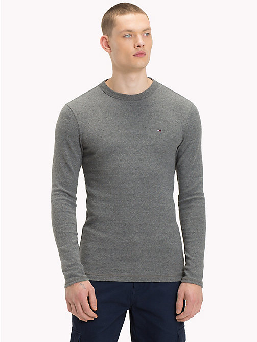 TOMMY JEANS Long Sleeve Slim Fit Top - DARK GREY HTR - TOMMY JEANS T-Shirts & Polos - main image