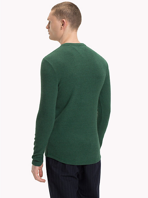 TOMMY JEANS Long Sleeve Slim Fit Top - HUNTER GREEN HTR - TOMMY JEANS T-Shirts & Polos - detail image 1