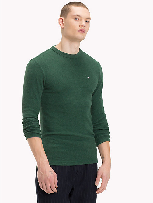 TOMMY JEANS Long Sleeve Slim Fit Top - HUNTER GREEN HTR - TOMMY JEANS T-Shirts & Polos - main image