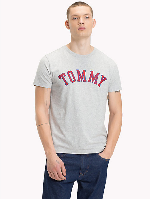 TOMMY JEANS Organic Cotton Logo T-Shirt - LT GREY HTR - TOMMY JEANS Sustainable Evolution - main image