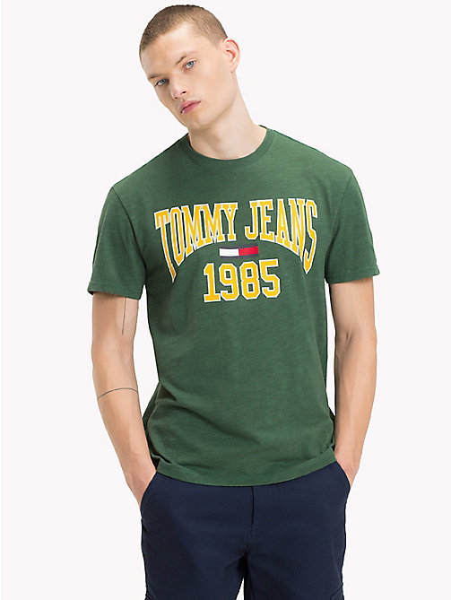 TOMMY JEANS Collegiate Logo T-Shirt - HUNTER GREEN - TOMMY JEANS T-Shirts & Polos - main image