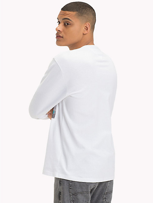 TOMMY JEANS Long Sleeve Cotton T-Shirt - CLASSIC WHITE / SQUAD - TOMMY JEANS T-Shirts & Polos - detail image 1