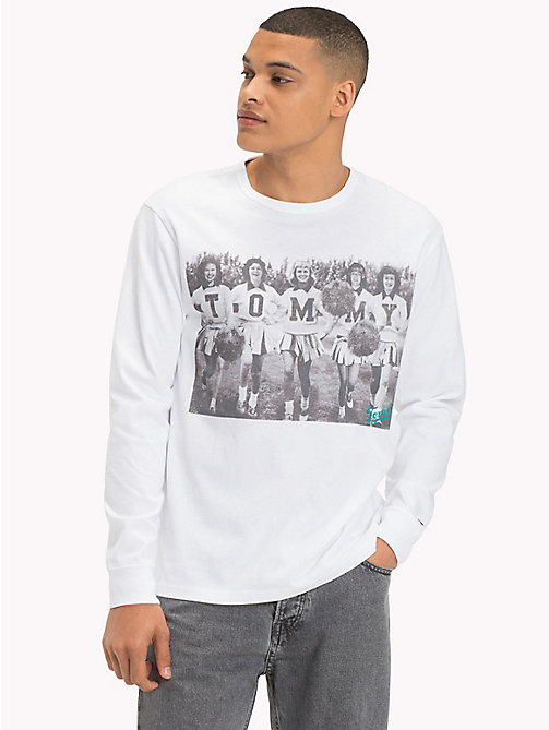 TOMMY JEANS Long Sleeve Cotton T-Shirt - CLASSIC WHITE / SQUAD - TOMMY JEANS T-Shirts & Polos - main image