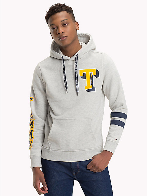 TOMMY JEANS Collegiate Graphic Fleece Hoody - LT GREY HTR - TOMMY JEANS Sweatshirts & Hoodies - main image