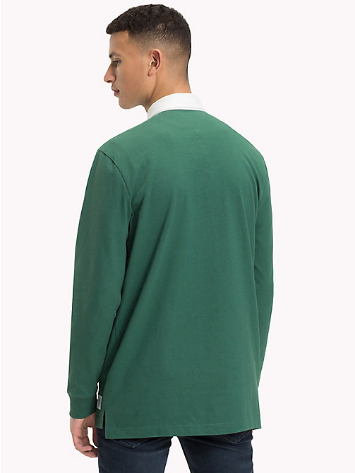 TOMMY JEANS Plain Cotton Rugby Shirt - HUNTER GREEN - TOMMY JEANS Rugby shirts - detail image 1