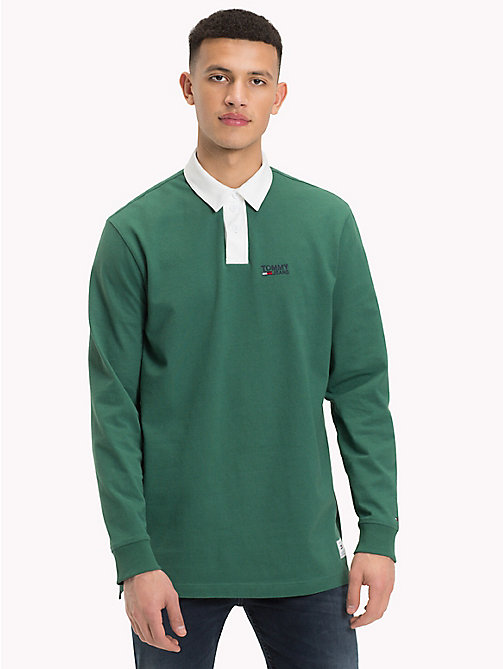 TOMMY JEANS Plain Cotton Rugby Shirt - HUNTER GREEN - TOMMY JEANS Rugby shirts - main image