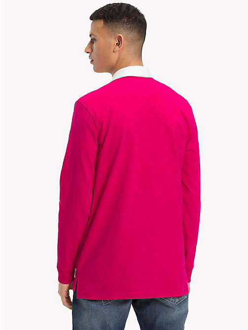 TOMMY JEANS Plain Cotton Rugby Shirt - BRIGHT ROSE - TOMMY JEANS Rugby shirts - detail image 1