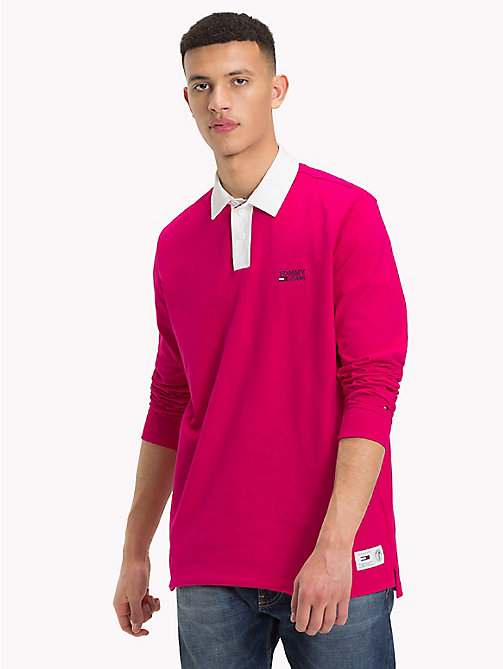 TOMMY JEANS Plain Cotton Rugby Shirt - BRIGHT ROSE - TOMMY JEANS Rugby shirts - main image