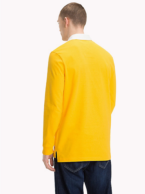 TOMMY JEANS Plain Cotton Rugby Shirt - SPECTRA YELLOW -  Rugby shirts - detail image 1