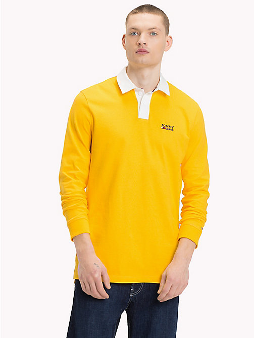 TOMMY JEANS Plain Cotton Rugby Shirt - SPECTRA YELLOW - TOMMY JEANS Rugby shirts - main image