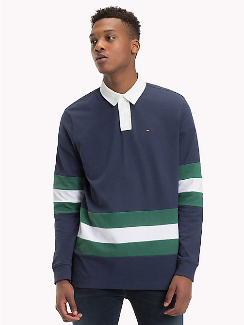 TOMMY JEANS Statement Stripe Rugby Shirt - BLACK IRIS/MULTI - TOMMY JEANS Rugby shirts - main image