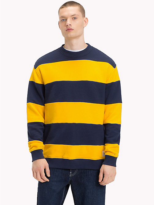 TOMMY JEANS Stripe Crew Neck Sweatshirt - BLACK IRIS / SPECTRA YELLOW - TOMMY JEANS Sweatshirts & Hoodies - main image