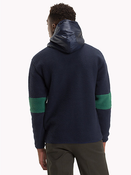 TOMMY JEANS Texture Contrast Fleece Hoody - HUNTER GREEN / MULTI - TOMMY JEANS Sweatshirts & Hoodies - detail image 1