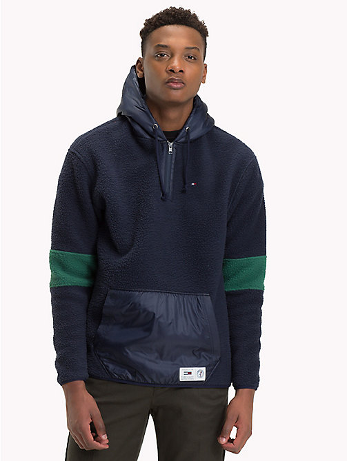 TOMMY JEANS Texture Contrast Fleece Hoody - HUNTER GREEN / MULTI - TOMMY JEANS Sweatshirts & Hoodies - main image