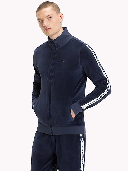 TOMMY JEANS Trainingsjacke aus Velours - BLACK IRIS - TOMMY JEANS Trainingsanzüge - main image