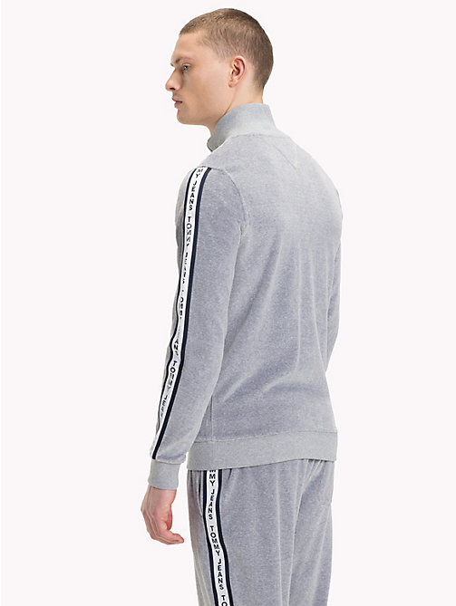 TOMMY JEANS Velour Tracksuit Top - LT GREY HTR - TOMMY JEANS Coats & Jackets - detail image 1