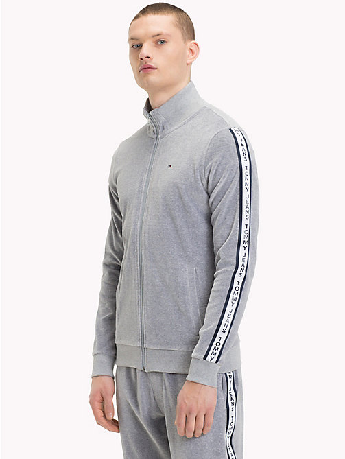 TOMMY JEANS Trainingsjacke aus Velours - LT GREY HTR - TOMMY JEANS Trainingsanzüge - main image