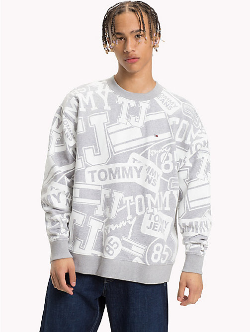TOMMY JEANS Logo Print Jumper - LOGO PRINT LT GREY HTR - TOMMY JEANS Sweatshirts & Hoodies - main image