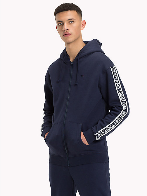 TOMMY JEANS Logo Sleeve Zip-Thru Hoody - BLACK IRIS - TOMMY JEANS Sweatshirts & Hoodies - main image